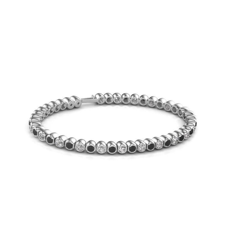 Tennisarmband Asley 585 witgoud zwarte diamant 4.84 crt