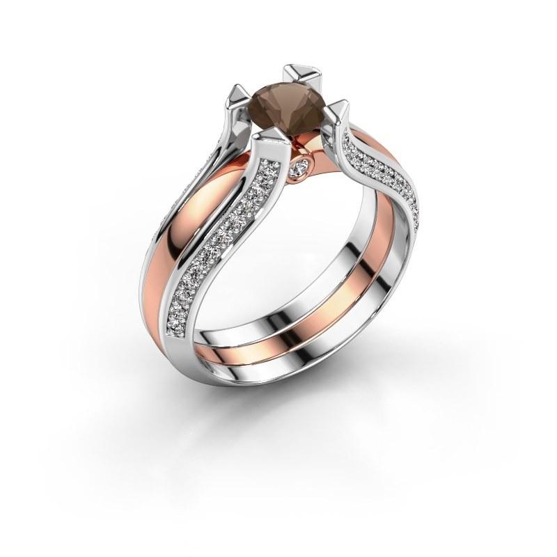 Verlovingsring Nadine 585 rosé goud rookkwarts 5 mm