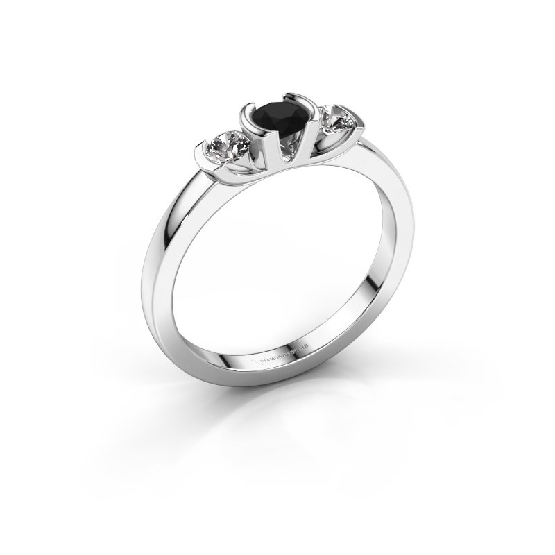 Ring Lucia 925 silver black diamond 0.44 crt