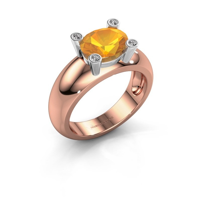 Ring Tamara OVL 585 rosé goud citrien 9x7 mm