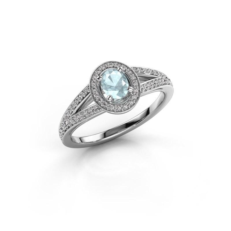 Verlovings ring Angelita OVL 950 platina aquamarijn 6x4 mm