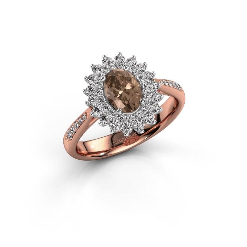 Aanzoeksring Alina 2 585 rosé goud bruine diamant 0.80 crt