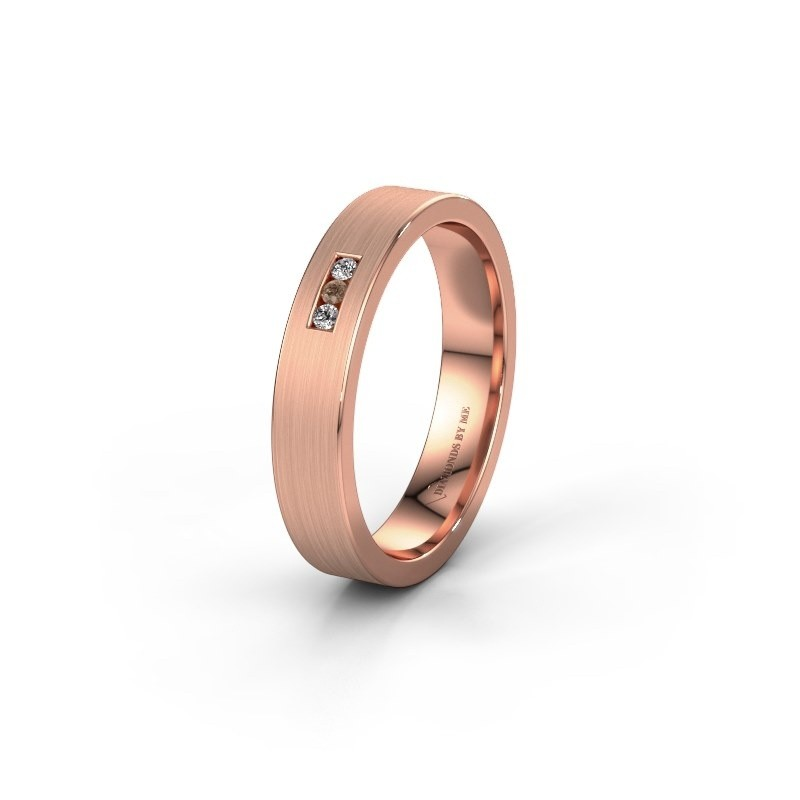 Wedding ring WH0106L14AM 375 rose gold brown diamond ±4x1.7 mm