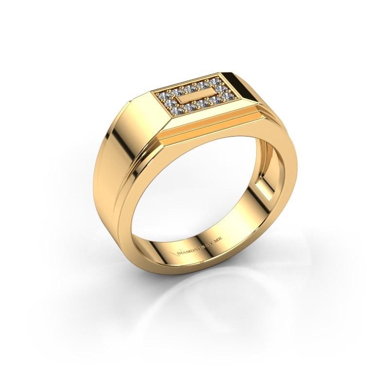 Men's ring Roan 375 gold diamond 0.18 crt