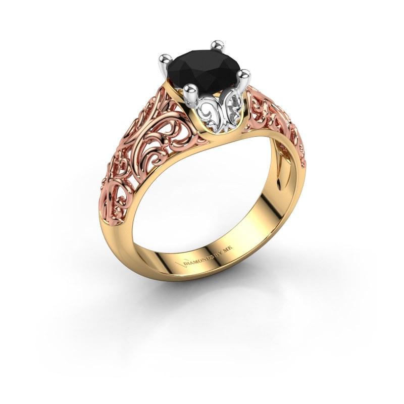 Ring Mirte 585 goud zwarte diamant 1.30 crt