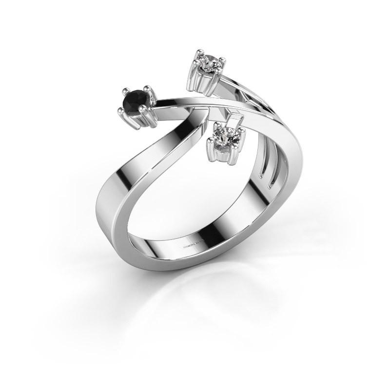 Ring Lillian 585 witgoud zwarte diamant 0.192 crt