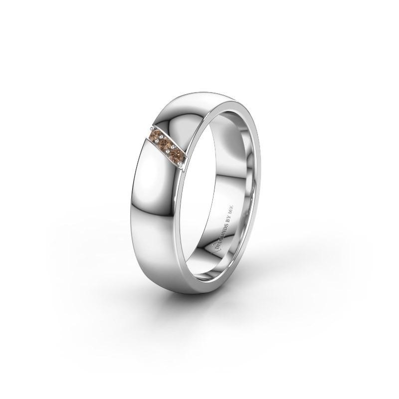 Wedding ring WH0174L25BP 950 platinum brown diamond ±5x2 mm