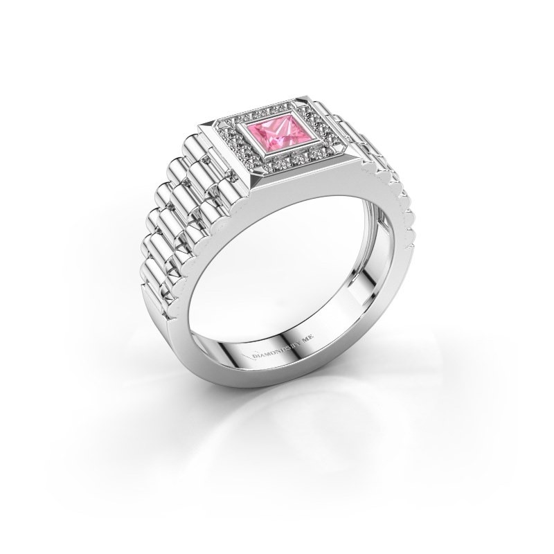 Heren ring Zilan 950 platina roze saffier 4 mm