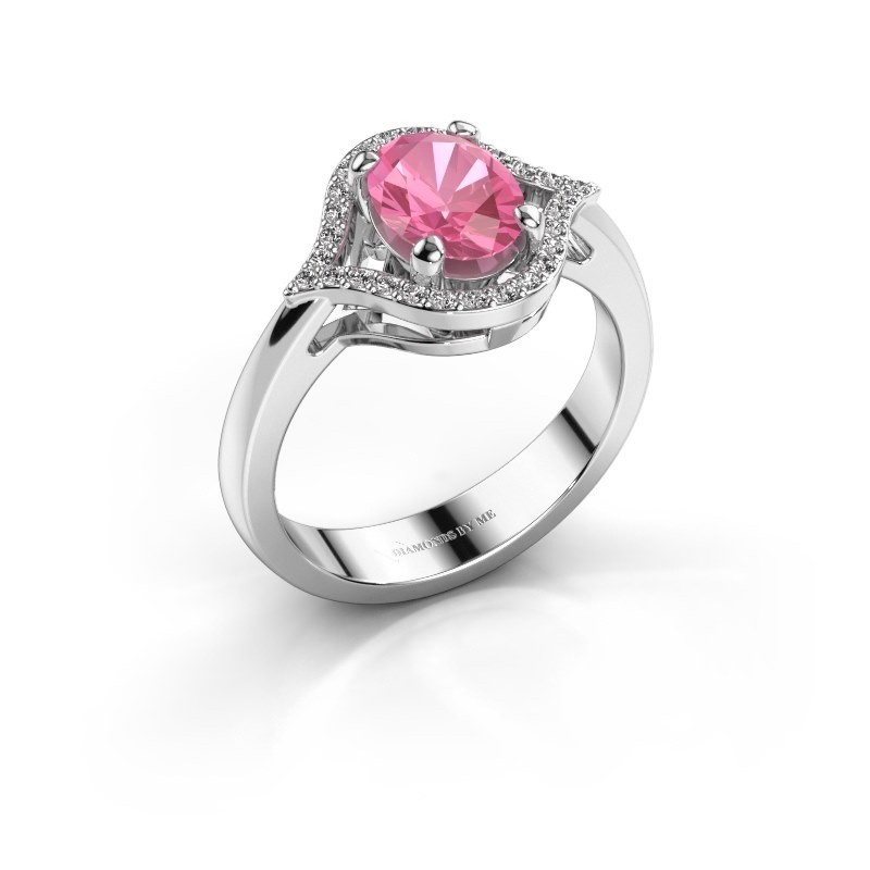 Ring Mendy 585 witgoud roze saffier 8x6 mm