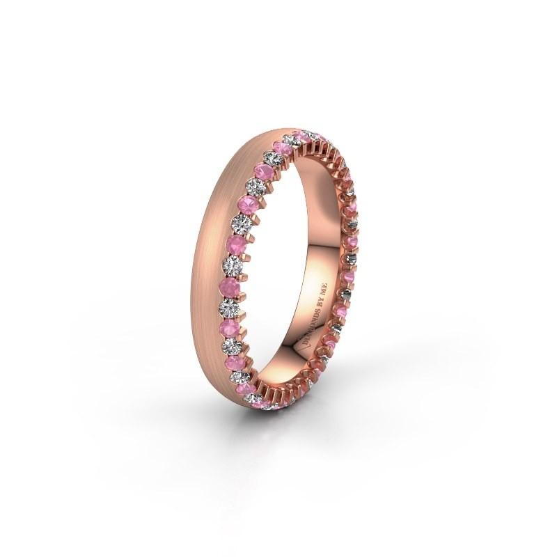 Trouwring WH2138L24B 375 rosé goud roze saffier ±4x2 mm