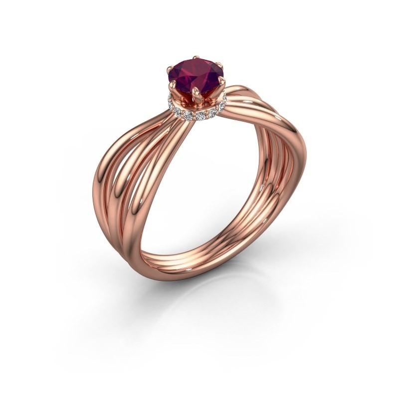 Engagement ring Kimi 375 rose gold rhodolite 5 mm