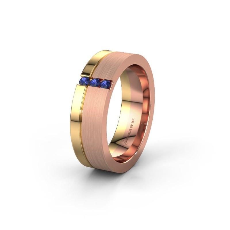 Trouwring WH0327L16B 585 rosé goud saffier ±6x2 mm