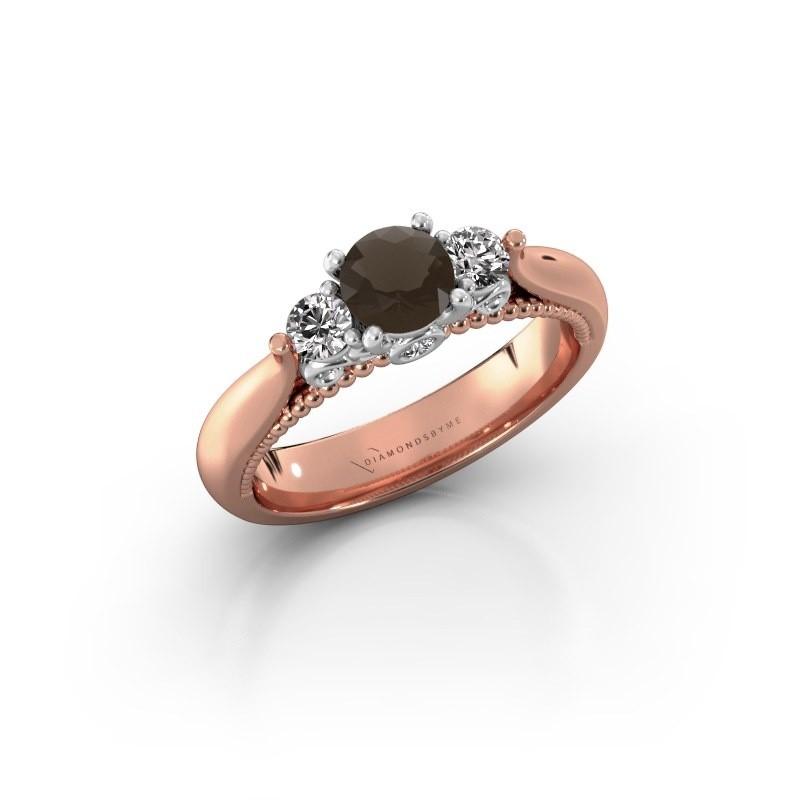 Verlovingsring Tiffani 585 rosé goud rookkwarts 5 mm
