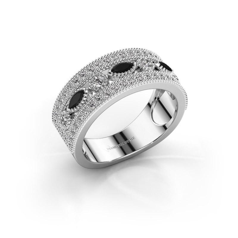 Ring Henna 925 zilver zwarte diamant 0.828 crt