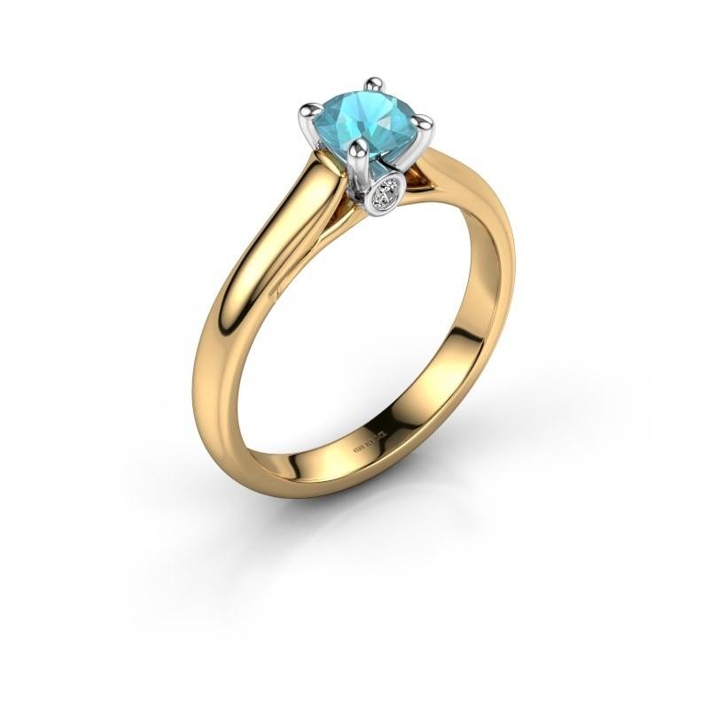 Verlovingsring Valorie 1 585 goud blauw topaas 5 mm