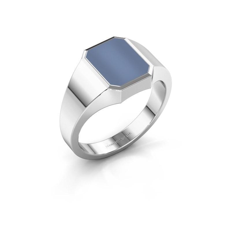 Zegelring Lars 1 F 375 witgoud licht blauwe lagensteen 10x8 mm