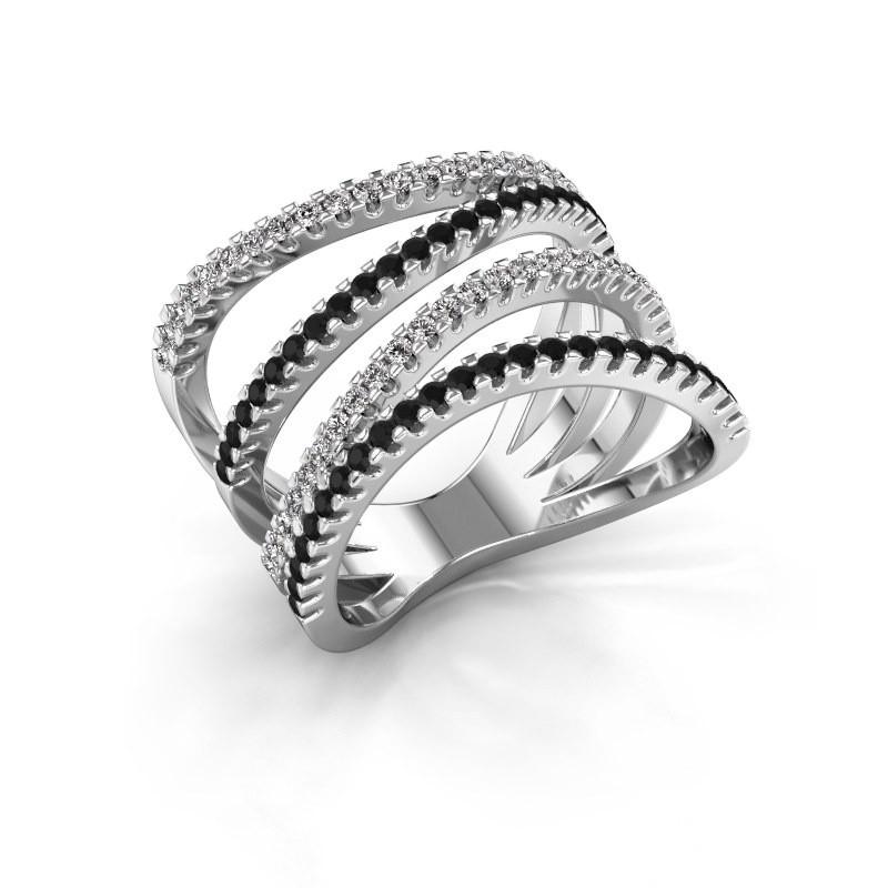 Ring Mitzi 925 zilver zwarte diamant 0.809 crt