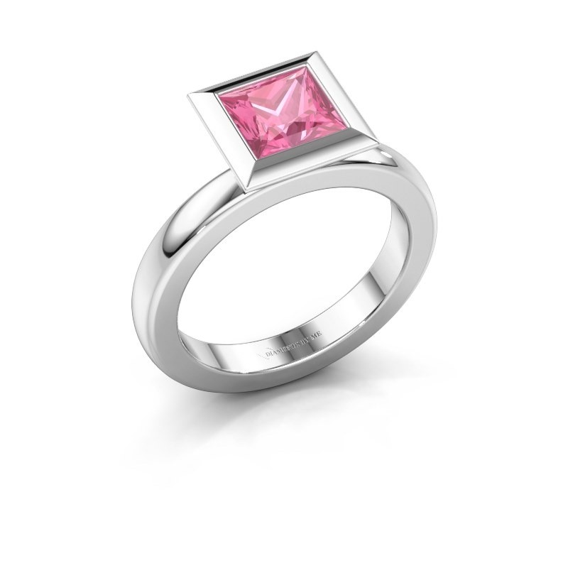 Stapelring Trudy Square 950 platina roze saffier 6 mm