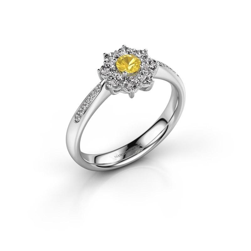 Verlobungsring Carolyn 2 585 Weißgold Gelb Saphir 3.4 mm