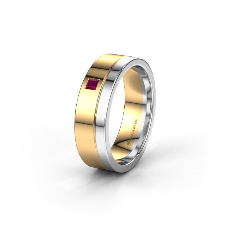 Trouwring WH0301L16APSQ 585 goud rhodoliet ±6x1.7 mm