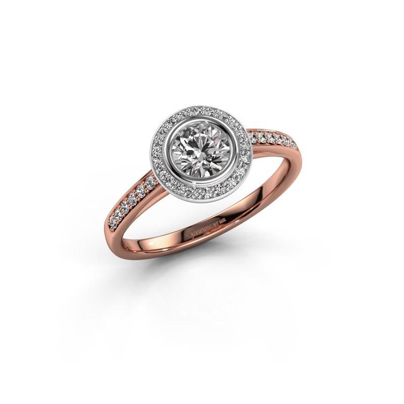 Verlovingsring Noud 2 RND 585 rosé goud diamant 0.69 crt
