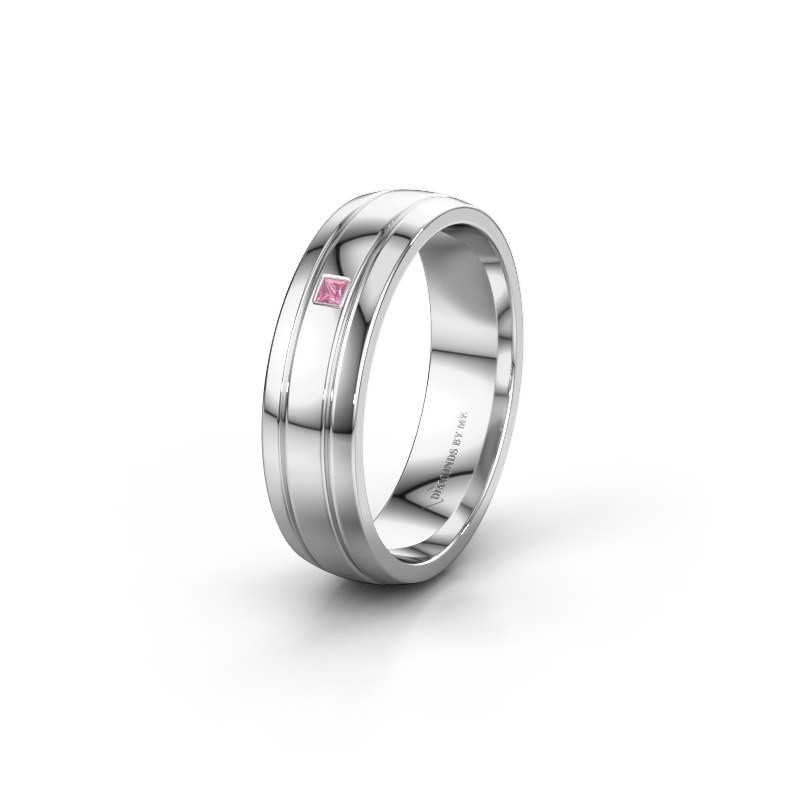 Wedding ring WH0422L25X 925 silver pink sapphire ±0.20x0.06 in