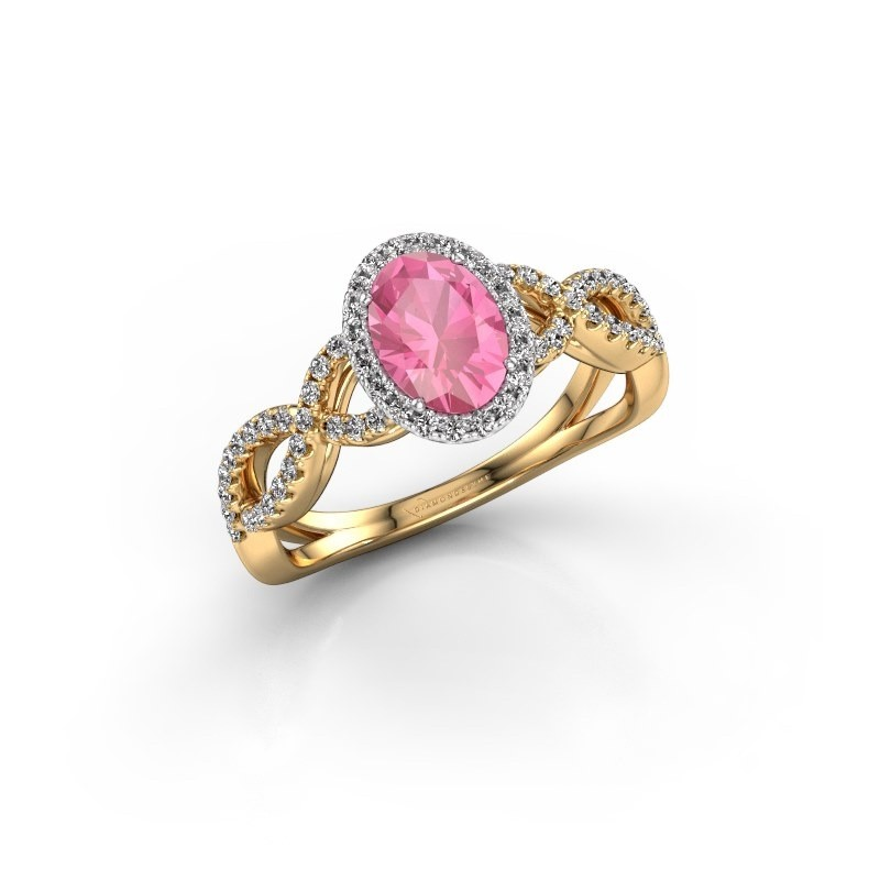 Engagement ring Dionne ovl 585 gold pink sapphire 7x5 mm