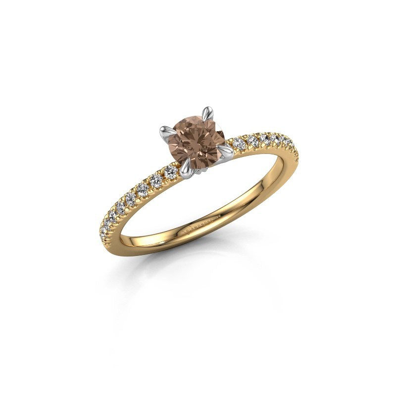 Verlobungsring Crystal rnd 2 585 Gold Braun Diamant 0.680 crt