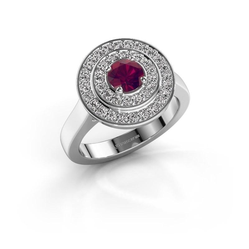 Ring Alecia 1 585 witgoud rhodoliet 5 mm
