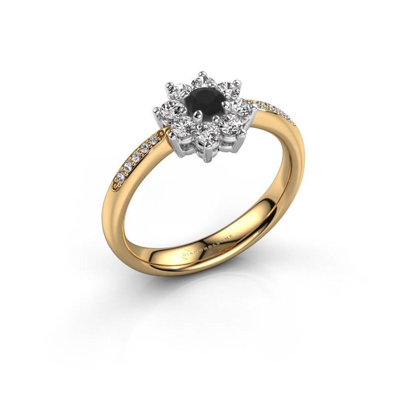 Verlobungsring Camille 2 585 Gold Schwarz Diamant 0.18 crt