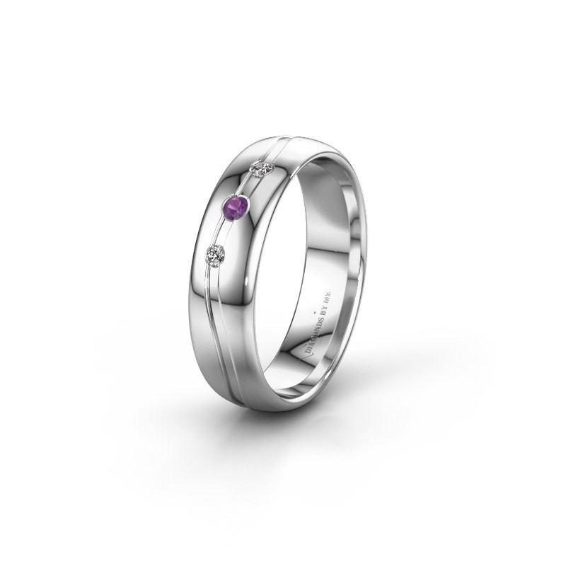 Friendship ring WH0907L35X 585 white gold amethyst ±5x1.4 mm