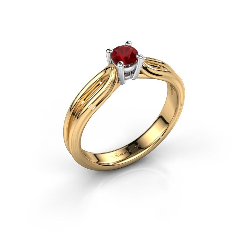 Verlovingsring Antonia 1 585 goud robijn 4 mm