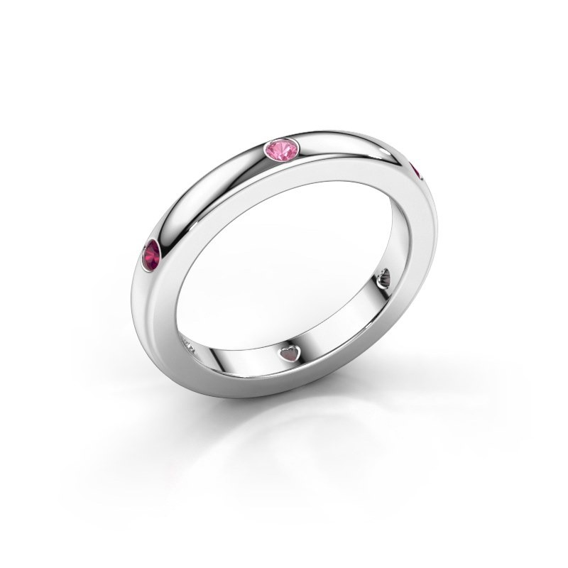 Stackable ring Charla 375 white gold pink sapphire 2 mm
