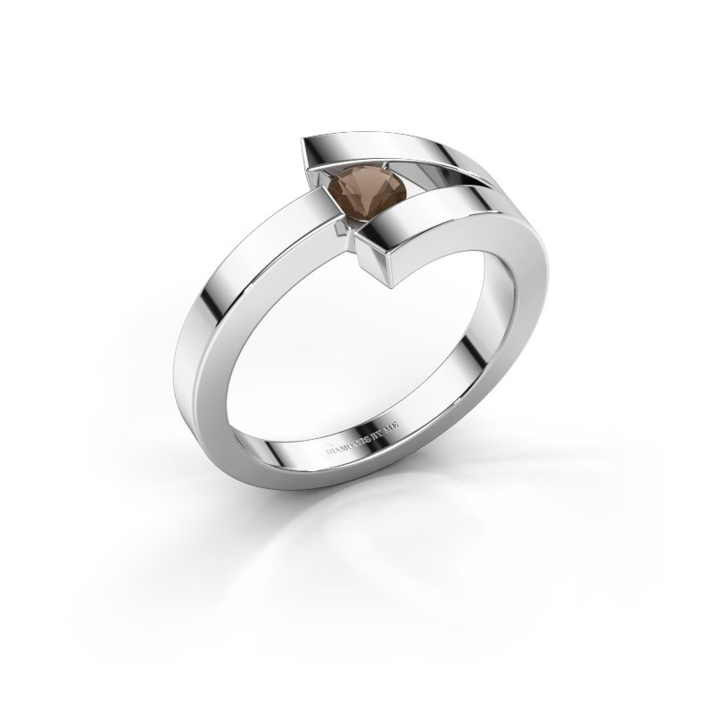 Ring Sofia 585 Weißgold Rauchquarz 3.7 mm
