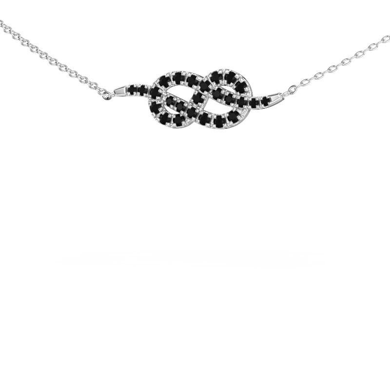 Bar Kette Infinity 1 925 Silber Schwarz Diamant 0.393 crt
