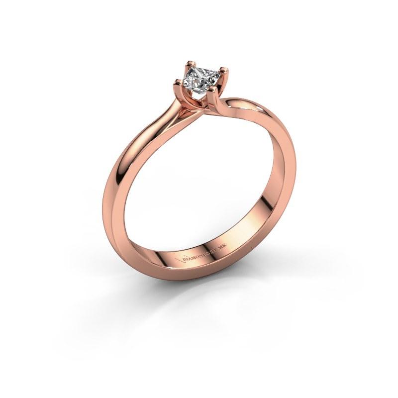 Engagement ring Dewi Square 585 rose gold diamond 0.17 crt