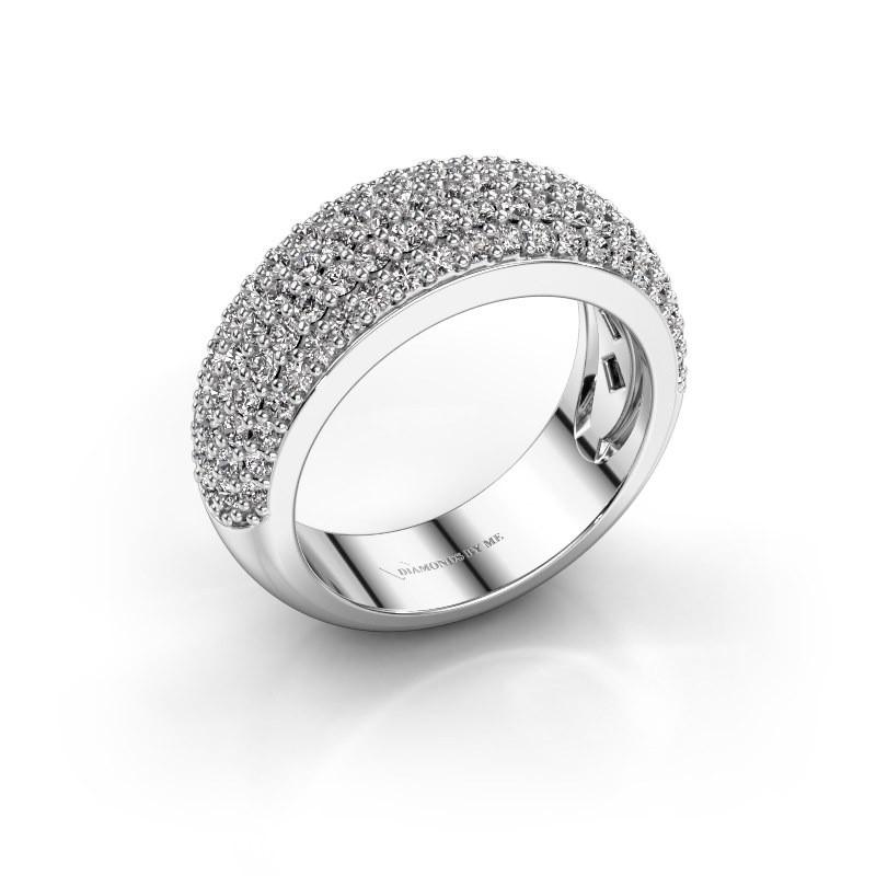 Bague Cristy En Or Blanc Style Sertis Paves Sertie D Un Diamant De 1 425 Crt