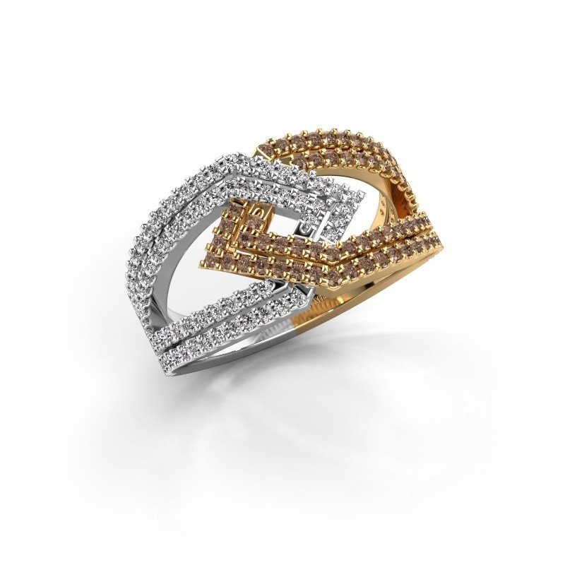 Ring Emanuelle 585 goud bruine diamant 0.76 crt