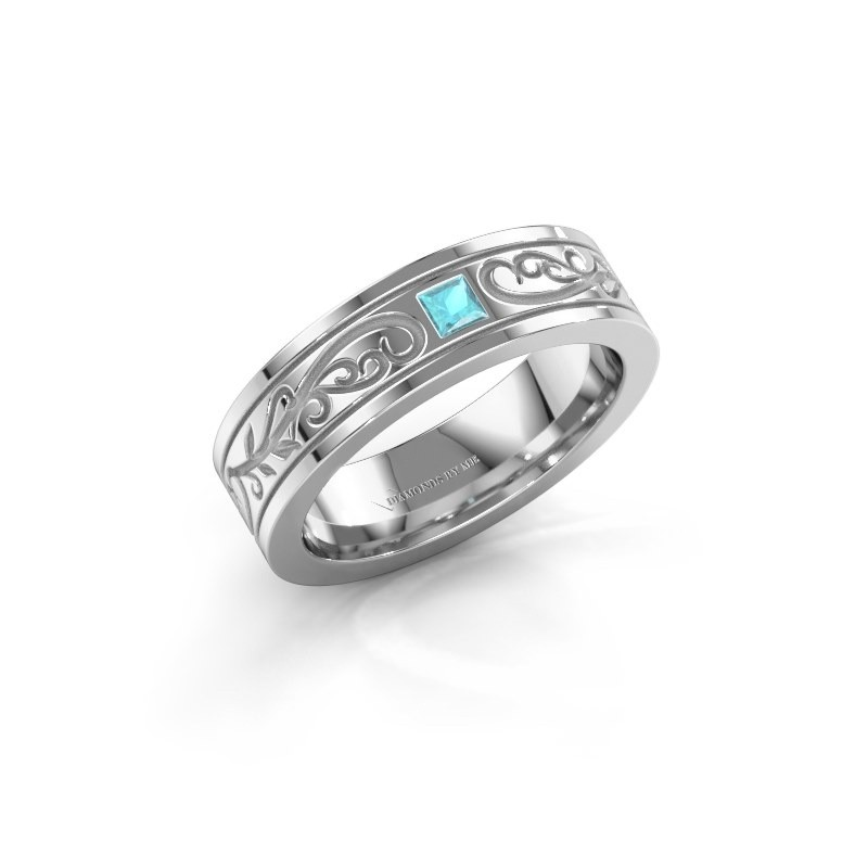 Men's ring Matijs 585 white gold blue topaz 3 mm