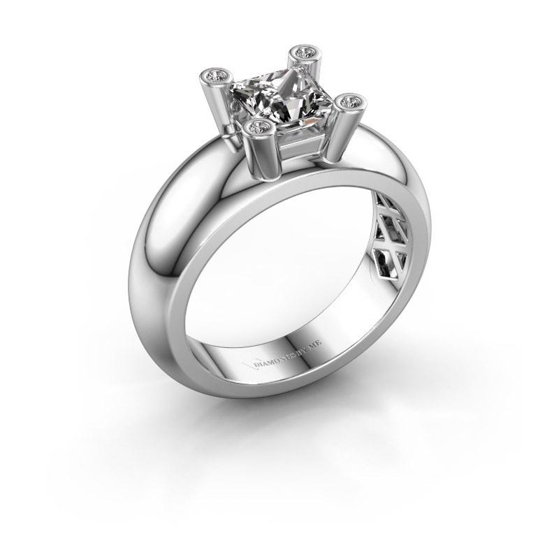 Ring Cornelia Square 585 white gold zirconia 5 mm