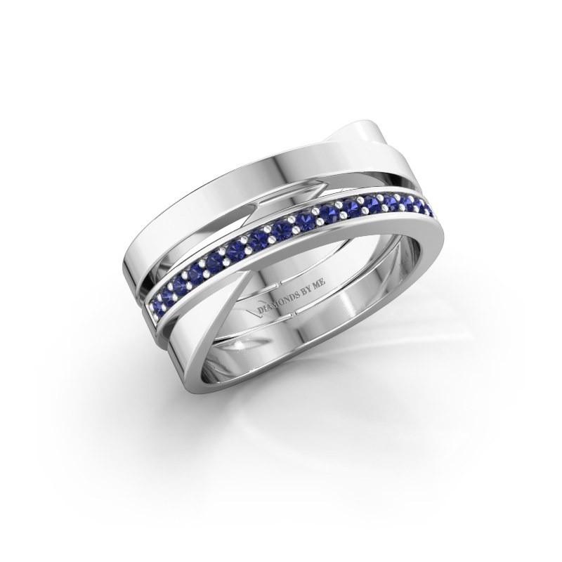 Ring Yolando 585 witgoud saffier 1.3 mm