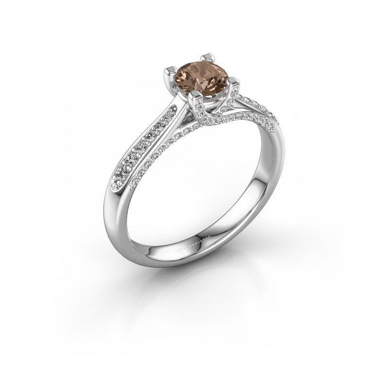 Verlovingsring Mia 3 950 platina bruine diamant 0.748 crt