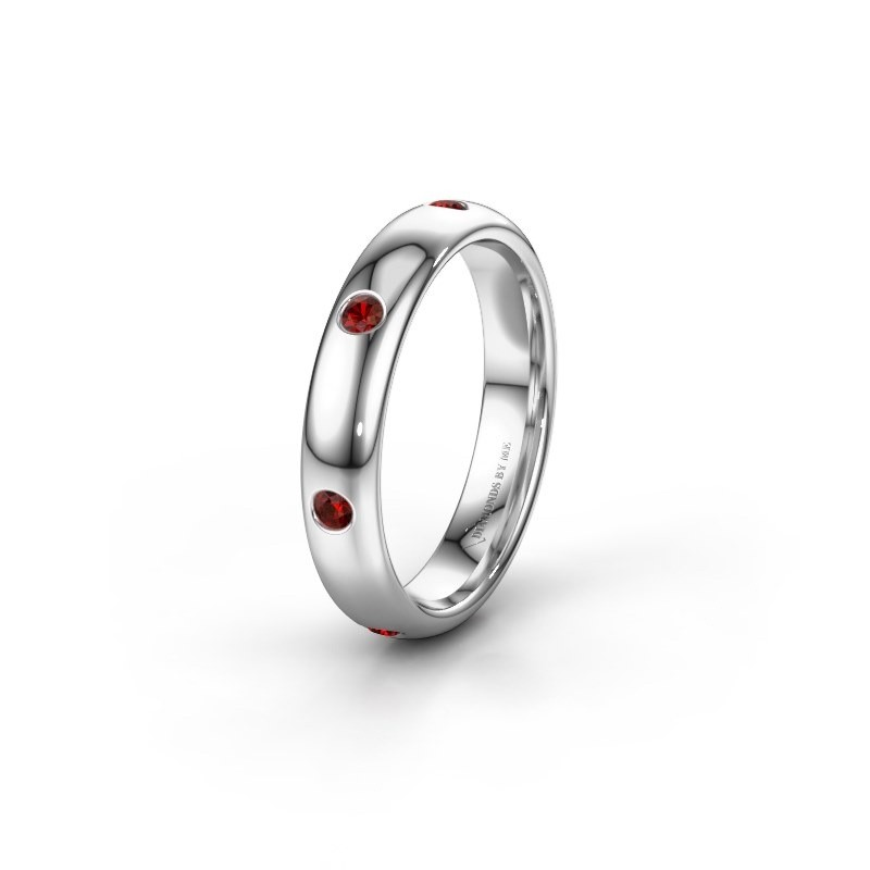 Wedding ring WH0105L34BP 375 white gold garnet ±4x2 mm