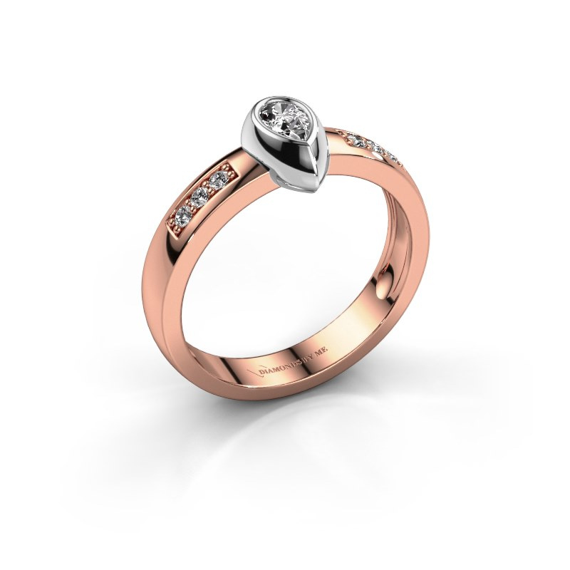 Ring Charlotte Pear 585 rose gold diamond 0.25 crt