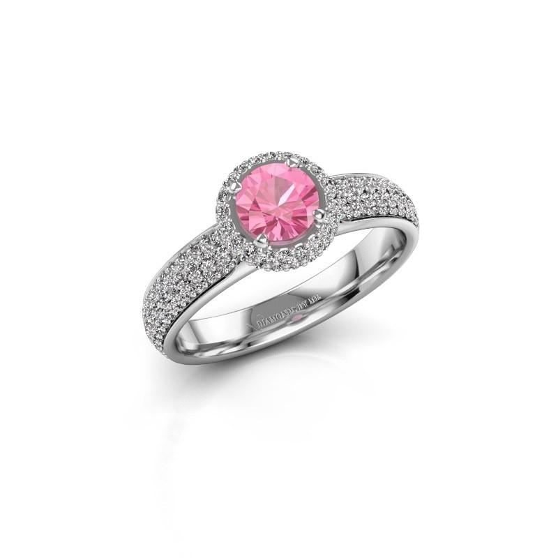 Verlovingsring Mildred 925 zilver roze saffier 5 mm