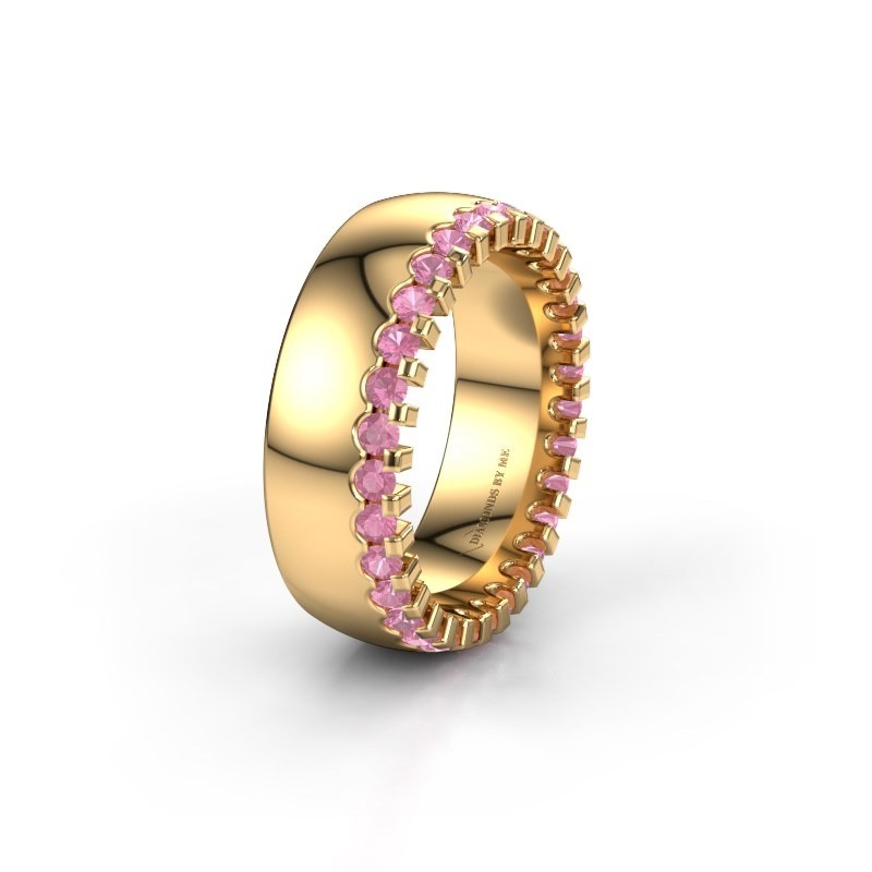 Wedding ring WH6120L27C 375 gold pink sapphire ±7x2.2 mm