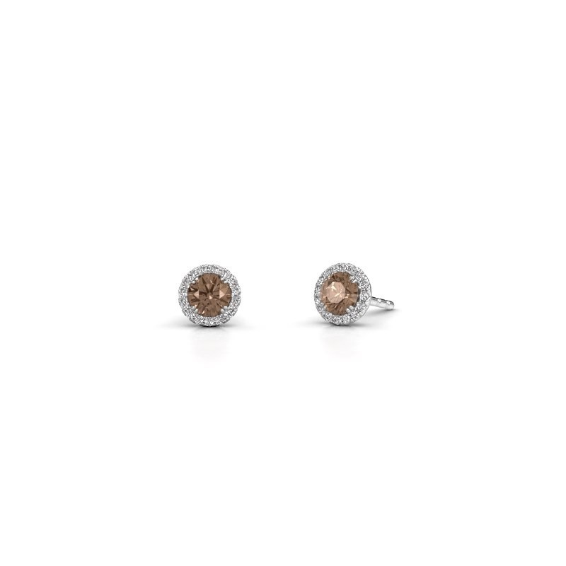 Earrings Seline rnd 585 white gold brown diamond 0.64 crt