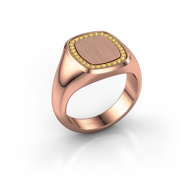 Heren ring Floris Cushion 3 375 rosé goud gele saffier 1.2 mm