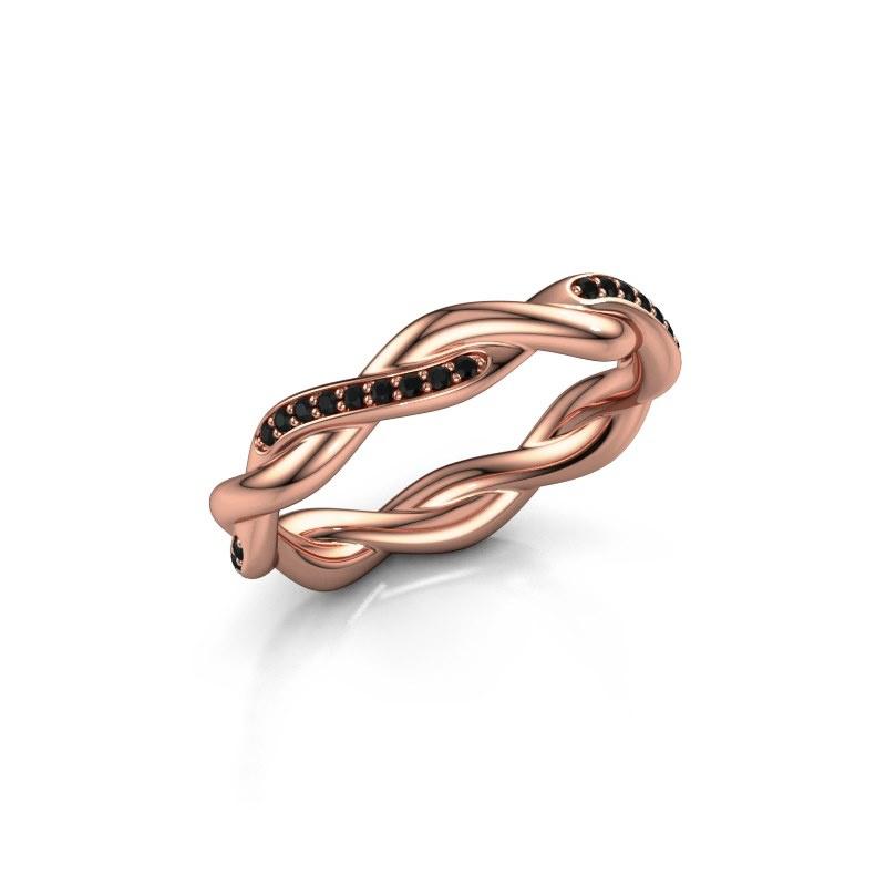 Aanschuifring Swing half 375 rosé goud zwarte diamant 0.216 crt