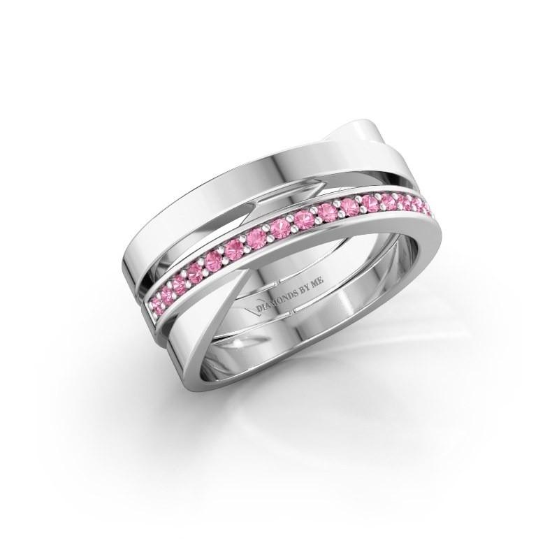 Ring Yolando 950 platina roze saffier 1.3 mm
